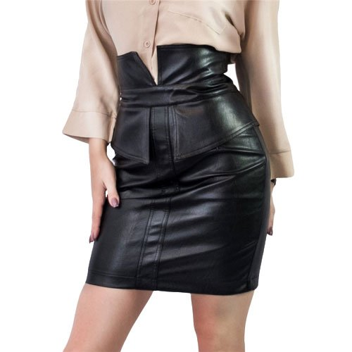 Short leather skirt With Vent