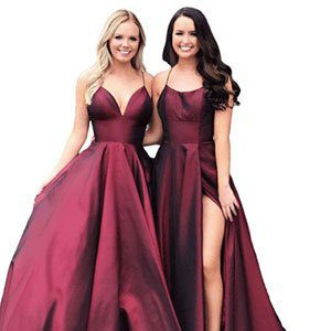 Wedding Gown Tailoring Beautiful two girls with red satin dresses